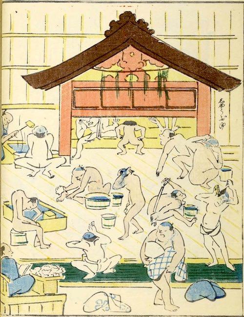 『蕙斎略画苑』にある銭湯の様子(1808年、北尾政美 画)