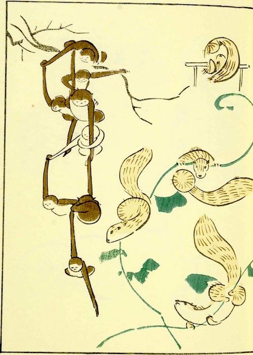 『鳥獣略画式』5-1(1797年、北尾政美 画)