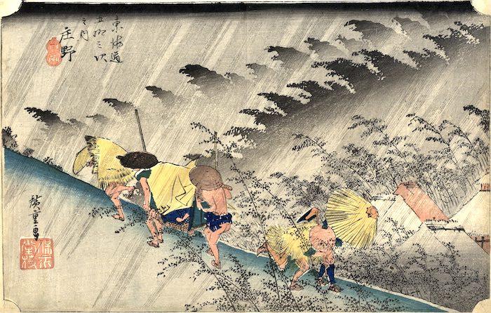 蓑を着る江戸時代の旅人(『東海道五十三次』「庄野 白雨」歌川広重 画)