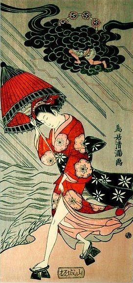 雷雨のなかを足駄で走る若い女性(鳥居清満 画)