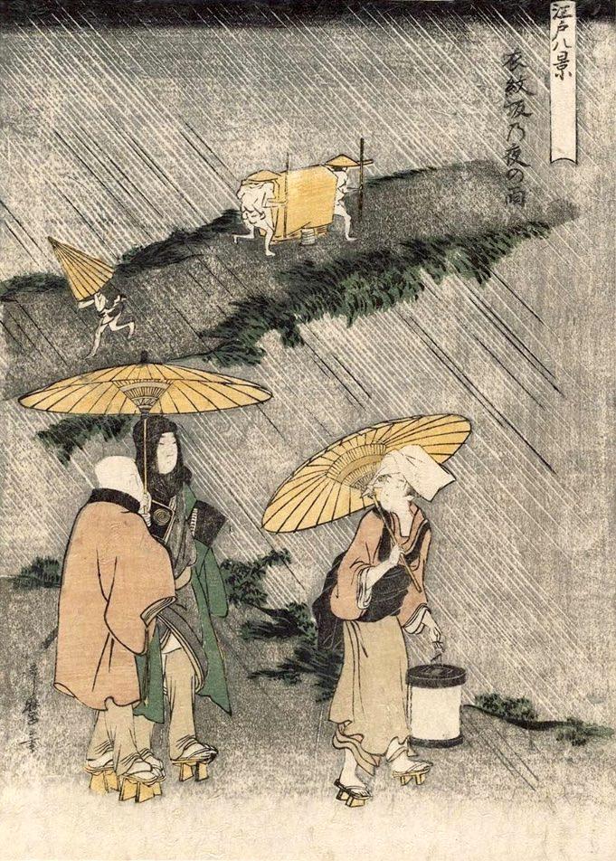 雨降る夜道を提灯を持った女性が傘をさして歩いています(『江戸八景』「衣紋坂乃夜の雨」喜多川歌麿 画)の拡大画像