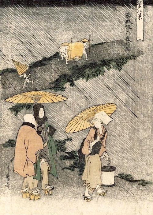 雨降る夜道を提灯を持った女性が傘をさして歩いています(『江戸八景』「衣紋坂乃夜の雨」喜多川歌麿 画)
