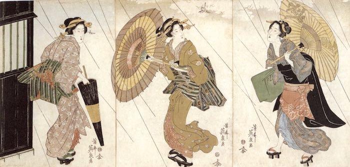 蛇の目傘を持つ江戸時代の女性(画像中央と左、渓斎英泉 画)