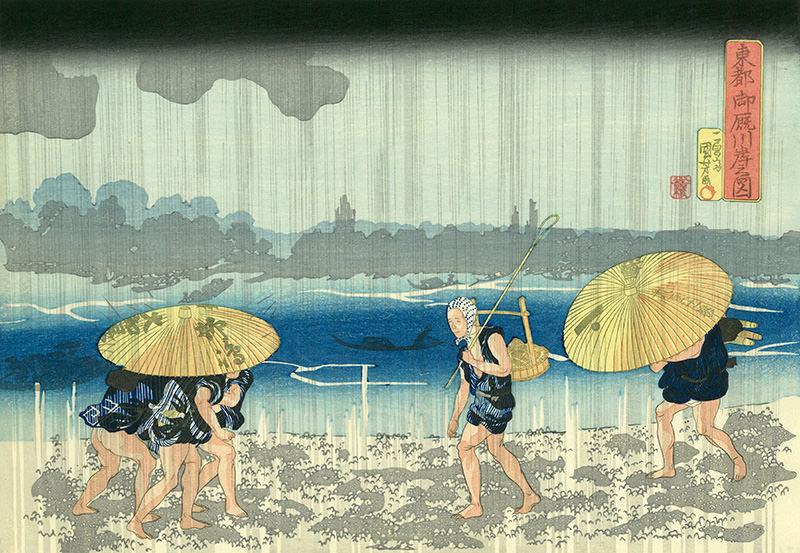 番傘に入る江戸時代の男たち(『東都 御厩川岸之図』歌川国芳 画)の拡大画像