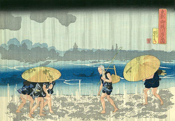 番傘に入る江戸時代の男たち(『東都 御厩川岸之図』歌川国芳 画)