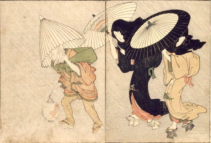 江戸時代、豪雨に外出する人たち(『太閤五妻洛東遊覧之図』部分/喜多川歌麿 画)