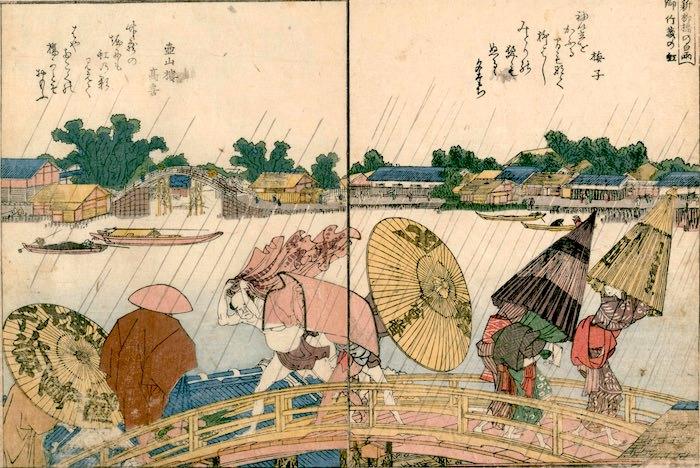 江戸時代、傘は歩く広告として利用されていた(画像左の傘に屋号が書かれている、『絵本隅田川両岸一覧』より/葛飾北斎 画)
