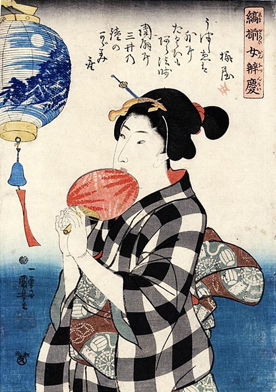 江戸時代の夏。女性が手にした団扇と風になびく風鈴(『縞揃女弁慶』「三井寺の鐘」歌川国芳 画)の拡大画像