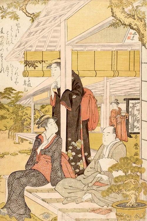 すだれを巻き上げ、縁側で夕涼み中(『庭中の涼み』喜多川歌麿 画)
