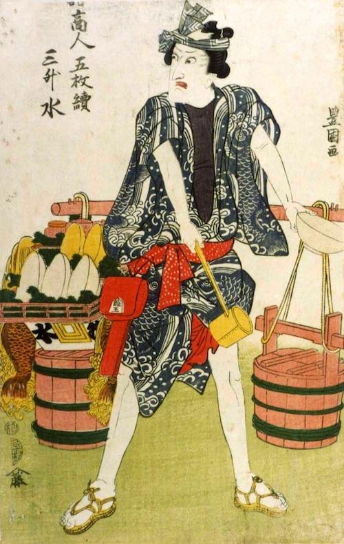 天秤棒に水の入った桶を下げ売り歩いた冷水売り。手にしたお椀はかなり大きい。これで100円なら安いかも(「水売り」歌川豊国 画)