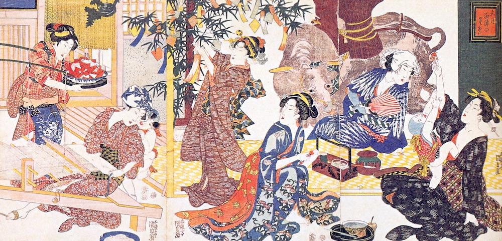 笹の葉に短冊を飾るなど楽しそうな七夕のようすを描いた浮世絵。スイカとそうめんは七夕の食べ物の定番(『文月西陣の星祭り』三代歌川豊国 画)の拡大画像