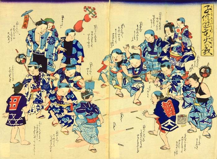 花火で遊ぶ江戸時代の子どもたち(『子供遊花火の戯』)