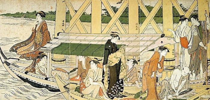 男女グループが舟遊びを満喫中。手前の小型舟では魚をさばいています(『吾妻橋下の舟遊び』鳥居清長 画)