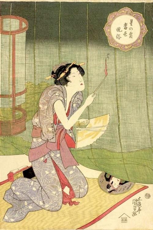 蚊やきをする江戸時代の女性(『星の霜当世風俗』「蚊やき」 歌川国貞 画)