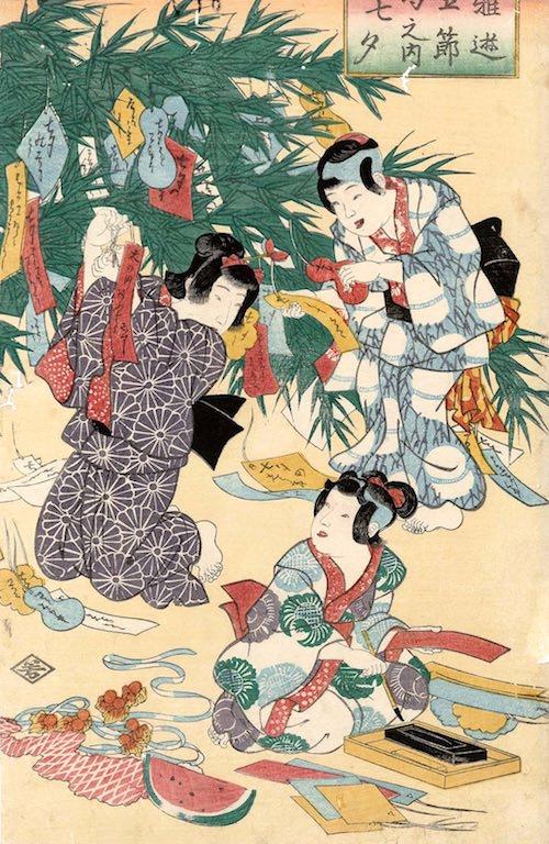 短冊を笹に飾り付ける江戸時代の子供たち(『雅遊五節句之内七夕』歌川国芳 画)