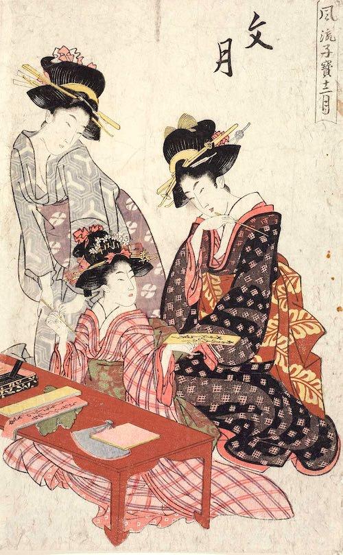 短冊に願い事を書く江戸時代の女の子(『風流子宝十二月』「文月」菊川英山 画)