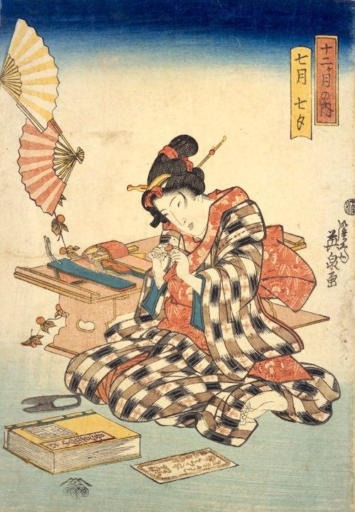 七夕のホオズキ飾りをつくる江戸時代の女の子(『十二ヶ月之内』「七月七夕」渓斎英泉 画)