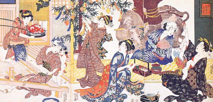 七夕の準備に大忙しの江戸時代の女性たち(『文月西陣の星祭』三代歌川豊国 画)