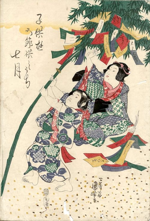 江戸時代の七夕(『子供遊五節供』「七月」歌川国芳 画)