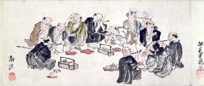 利きタバコの様子(『国分煙草七種の評并讃』部分 春木南溟 画)