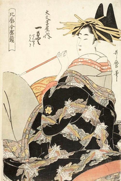 一服する遊女(『北廓全盛競 大文字屋内一墨』喜多川歌麿 画)