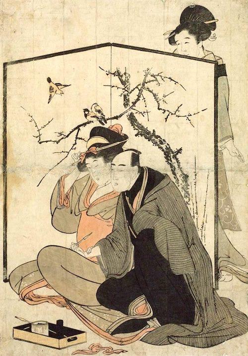 愛煙家いわく「タバコは恋の架け橋にもなる」のだとか(喜多川歌麿 画)