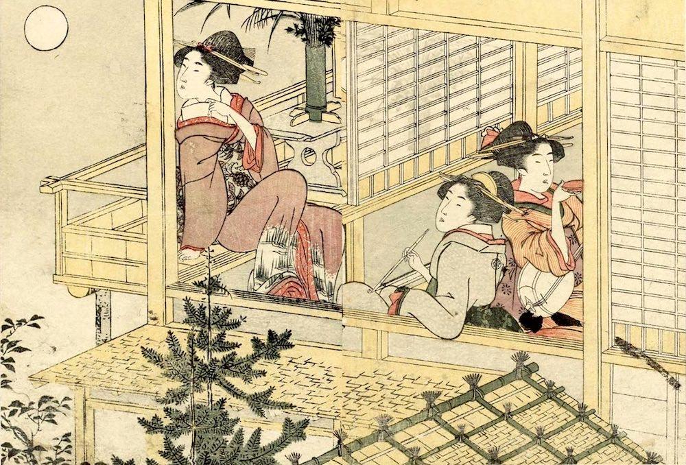 月見をしながら一服する女性(『絵本四季花』より 喜多川歌麿 画)の拡大画像
