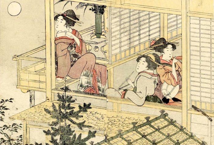 月見をしながら一服する女性(『絵本四季花』より 喜多川歌麿 画)