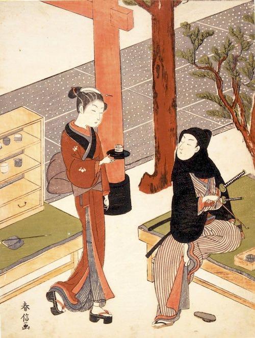 笠森お仙の茶屋でひと休みする若い侍(鈴木春信 画)