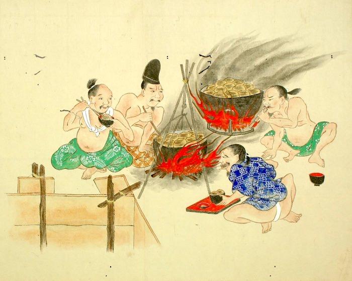 芋を大量に食べる男たち(『屁合戦絵巻』より)