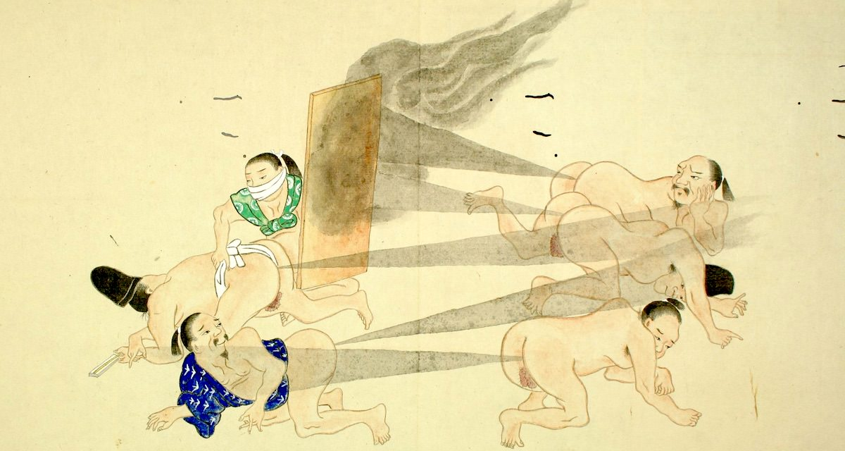 【画像あり】世界が驚愕した屁合戦絵巻をはじめ、江戸時代の屁事情を徹底紹介【おなら代理人も】