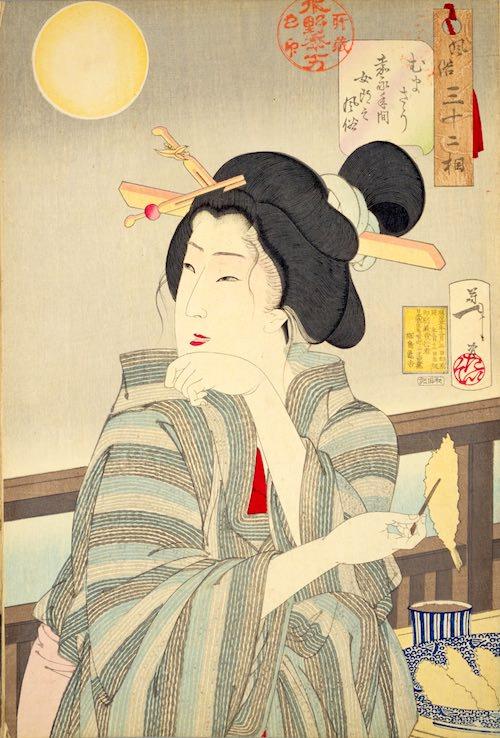 てんぷらを食べる江戸時代の女性(『風俗三十二相』「むまそう」月岡芳年 画)