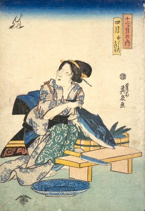 『十二ケ月の内 四月 ほとゝきす・かつほ』(渓斎英泉 画)