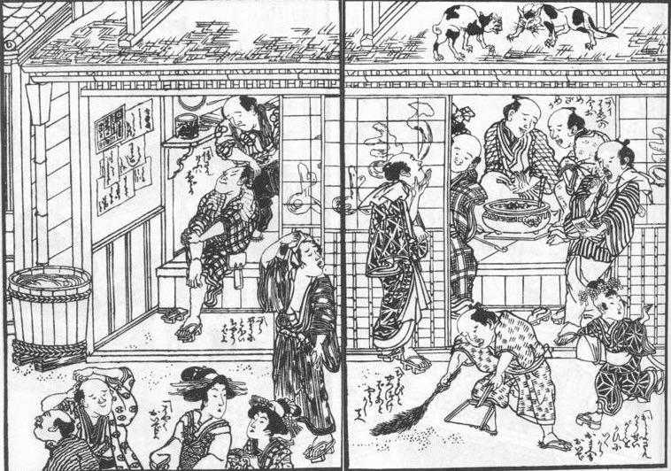 江戸時代の床屋(髪結床)(『浮世床』より 式亭三馬 著)の拡大画像