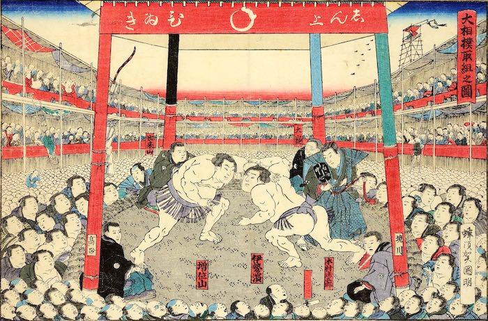 江戸時代の相撲(『大相撲取組之図』(歌川国明 画))