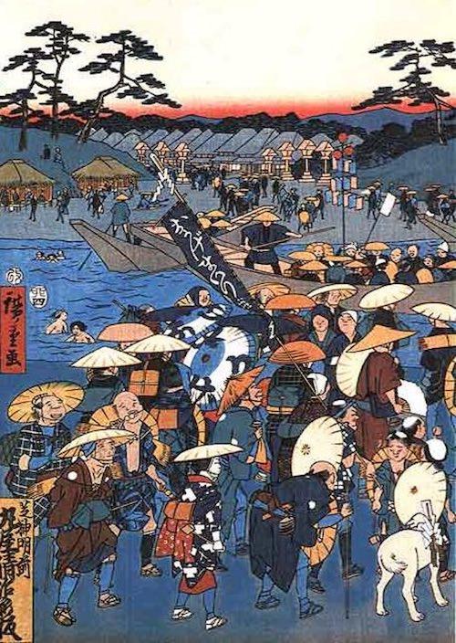 『伊勢参宮 宮川の渡し』部分(歌川広重 画)