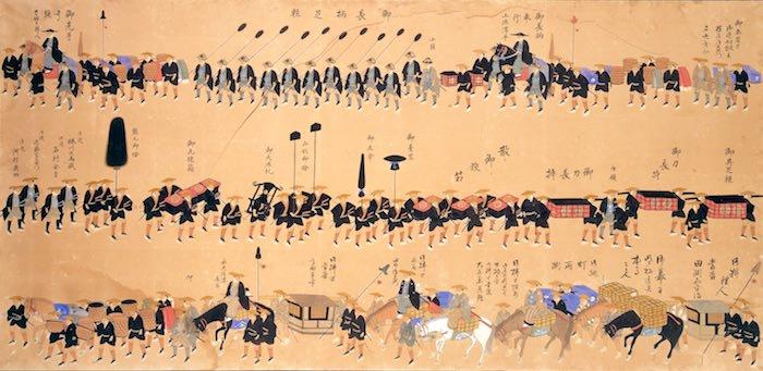 津山藩松平家の大名行列(『拾万石御加増後初御入国御供立之図』の一部)