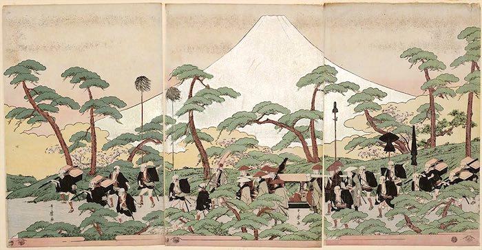 富士山を背景にした大名行列(喜多川歌麿 画)