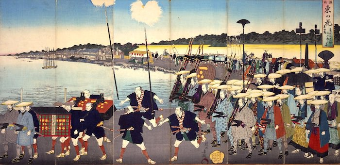 熊本藩細川家による大船団(『御船賦之図』部分)