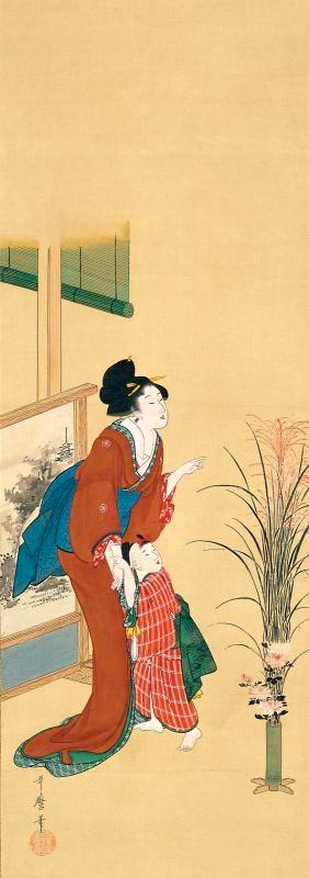 『月見の母と娘図』(喜多川歌麿 画)
