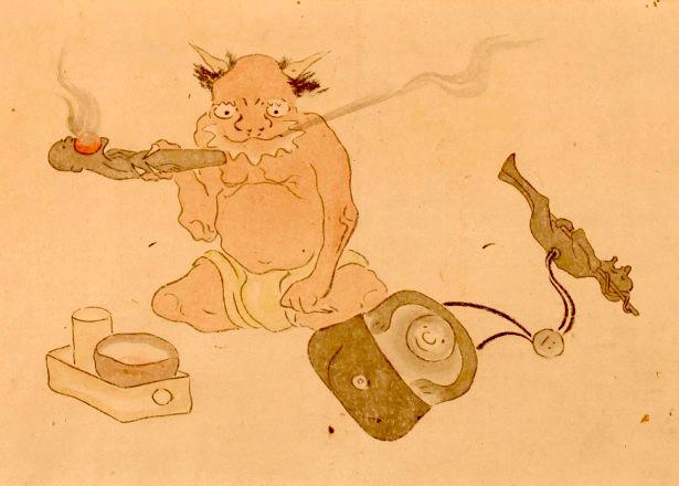 煙草好きの地獄(『別世界巻』 耳鳥斎 画)