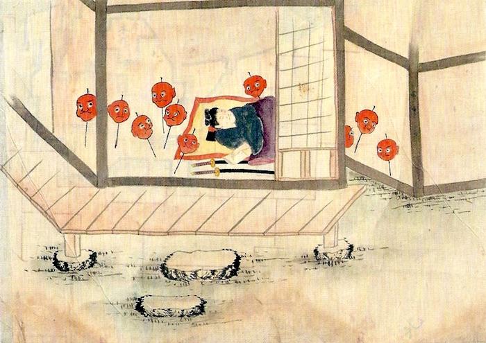 串刺しの真っ赤な生首(『稲生物怪録』より)