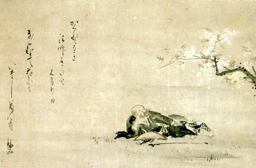『花見西行図』(井原西鶴 画、西山宗因 賛)
