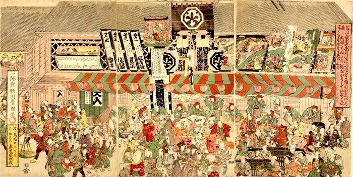 江戸時代の芝居小屋(『芝居町繁昌之図』歌川豊国 画)