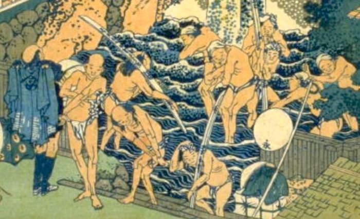 大山で滝行をする男性たち(『諸国滝廻』「相州大山ろうべんの滝」葛飾北斎 画)