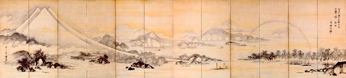 『富士三保松原図屏風』曽我蕭白 作(江戸時代中期)