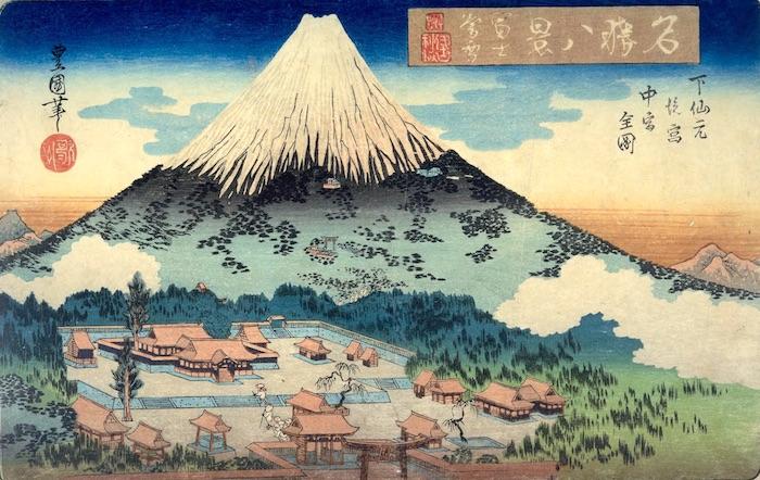『名勝八景 富士暮雪』二代目歌川豊国 作(1833~34年頃)
