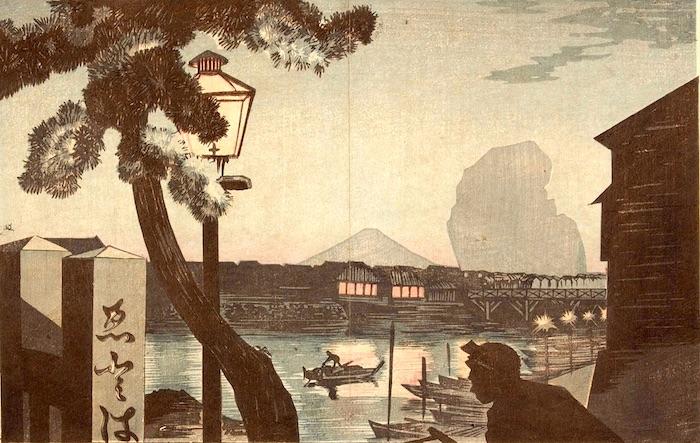 『江戸橋夕暮冨士』小林清親 作(1879年)