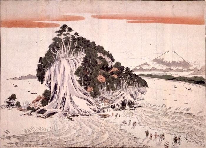 『相州江之島ノ風景腰越ノ方ヨリ見図』勝川春章 作(1785年頃)