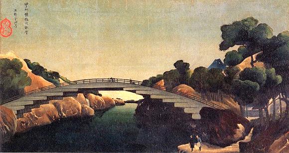 『甲州猿橋之眺望』亜欧堂田善 作(江戸時代後期)